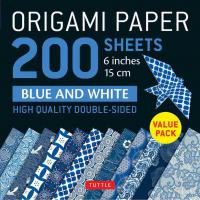 "Origami Paper: 200 Sheets Blue and White 6"" (15 cm)"